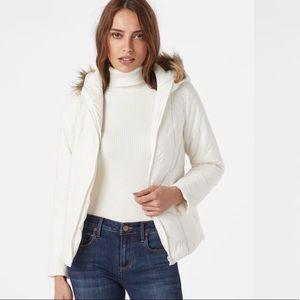 Chevron Puffer Jacket Faux Fur Hood White Size L